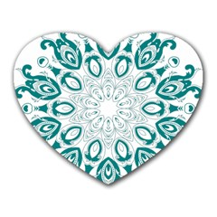 Vintage Floral Star Blue Green Heart Mousepads by Alisyart