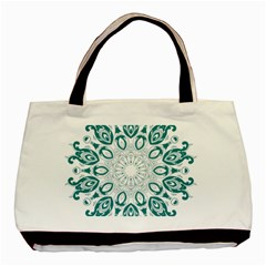 Vintage Floral Star Blue Green Basic Tote Bag (two Sides) by Alisyart