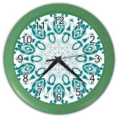 Vintage Floral Star Blue Green Color Wall Clocks by Alisyart