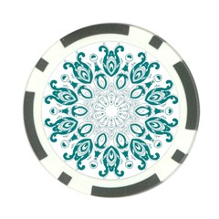 Vintage Floral Star Blue Green Poker Chip Card Guard by Alisyart