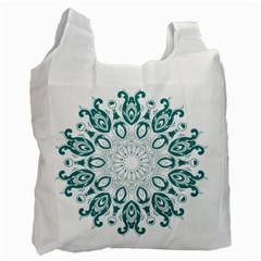 Vintage Floral Star Blue Green Recycle Bag (one Side)