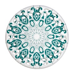Vintage Floral Star Blue Green Ornament (round Filigree) by Alisyart