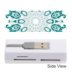 Vintage Floral Star Blue Green Memory Card Reader (stick)  by Alisyart