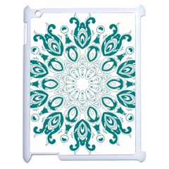 Vintage Floral Star Blue Green Apple Ipad 2 Case (white)