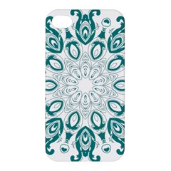 Vintage Floral Star Blue Green Apple Iphone 4/4s Hardshell Case by Alisyart