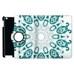 Vintage Floral Star Blue Green Apple Ipad 2 Flip 360 Case by Alisyart