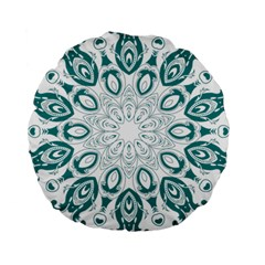 Vintage Floral Star Blue Green Standard 15  Premium Round Cushions by Alisyart
