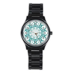 Vintage Floral Star Blue Green Stainless Steel Round Watch by Alisyart