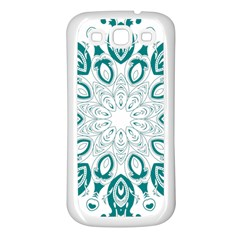 Vintage Floral Star Blue Green Samsung Galaxy S3 Back Case (white) by Alisyart