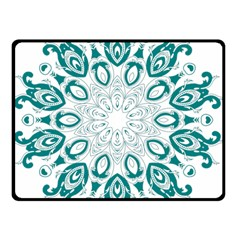 Vintage Floral Star Blue Green Double Sided Fleece Blanket (small)  by Alisyart