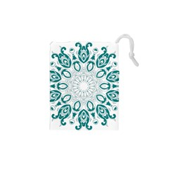 Vintage Floral Star Blue Green Drawstring Pouches (xs)  by Alisyart