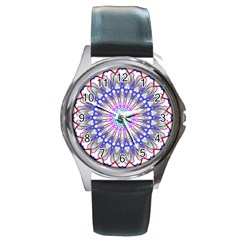 Prismatic Line Star Flower Rainbow Round Metal Watch by Alisyart