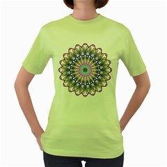 Prismatic Line Star Flower Rainbow Women s Green T-shirt by Alisyart