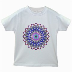 Prismatic Line Star Flower Rainbow Kids White T Shirts by Alisyart
