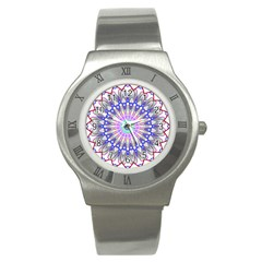 Prismatic Line Star Flower Rainbow Stainless Steel Watch by Alisyart