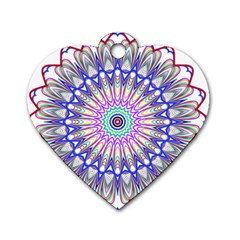 Prismatic Line Star Flower Rainbow Dog Tag Heart (one Side)