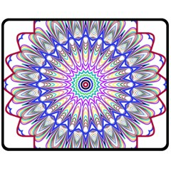 Prismatic Line Star Flower Rainbow Double Sided Fleece Blanket (medium)
