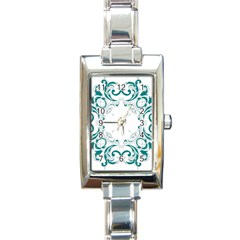 Vintage Floral Style Frame Rectangle Italian Charm Watch by Alisyart