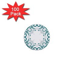 Vintage Floral Style Frame 1  Mini Buttons (100 Pack)