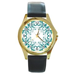 Vintage Floral Style Frame Round Gold Metal Watch by Alisyart