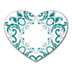 Vintage Floral Style Frame Heart Mousepads by Alisyart