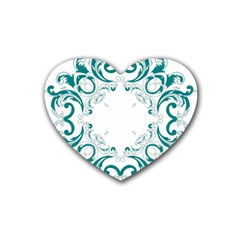 Vintage Floral Style Frame Heart Coaster (4 Pack)  by Alisyart