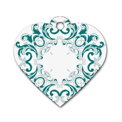 Vintage Floral Style Frame Dog Tag Heart (two Sides)