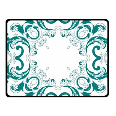 Vintage Floral Style Frame Fleece Blanket (small) by Alisyart