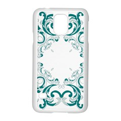 Vintage Floral Style Frame Samsung Galaxy S5 Case (white)