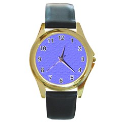 Ripples Blue Space Round Gold Metal Watch by Alisyart