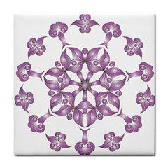 Frame Flower Star Purple Tile Coasters