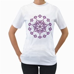 Frame Flower Star Purple Women s T Shirt (white) (two Sided) by Alisyart
