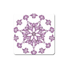 Frame Flower Star Purple Square Magnet by Alisyart