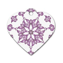 Frame Flower Star Purple Dog Tag Heart (two Sides) by Alisyart