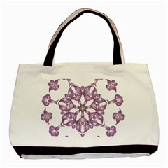 Frame Flower Star Purple Basic Tote Bag (two Sides) by Alisyart