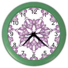 Frame Flower Star Purple Color Wall Clocks by Alisyart