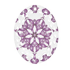Frame Flower Star Purple Oval Filigree Ornament (two Sides) by Alisyart