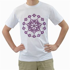 Frame Flower Star Purple Men s T Shirt (white)  by Alisyart