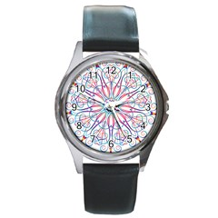 Frame Star Rainbow Love Heart Gold Purple Blue Round Metal Watch by Alisyart