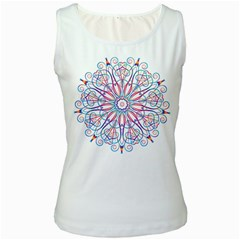 Frame Star Rainbow Love Heart Gold Purple Blue Women s White Tank Top