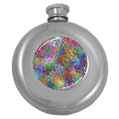 Glass Rainbow Color Round Hip Flask (5 Oz)