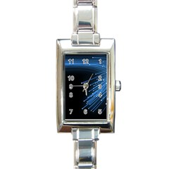 Abstract Light Rays Stripes Lines Black Blue Rectangle Italian Charm Watch by Alisyart