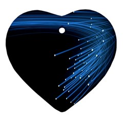 Abstract Light Rays Stripes Lines Black Blue Ornament (heart)