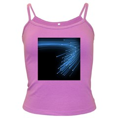 Abstract Light Rays Stripes Lines Black Blue Dark Spaghetti Tank by Alisyart