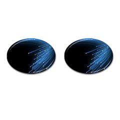 Abstract Light Rays Stripes Lines Black Blue Cufflinks (oval)