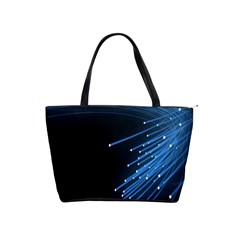 Abstract Light Rays Stripes Lines Black Blue Shoulder Handbags by Alisyart