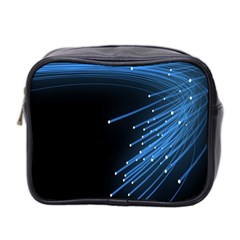 Abstract Light Rays Stripes Lines Black Blue Mini Toiletries Bag 2 Side
