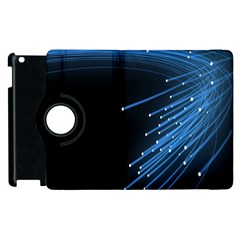 Abstract Light Rays Stripes Lines Black Blue Apple Ipad 3/4 Flip 360 Case by Alisyart