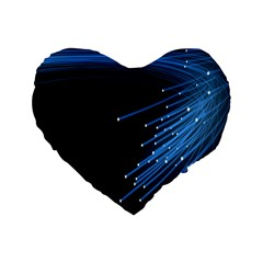 Abstract Light Rays Stripes Lines Black Blue Standard 16  Premium Heart Shape Cushions by Alisyart