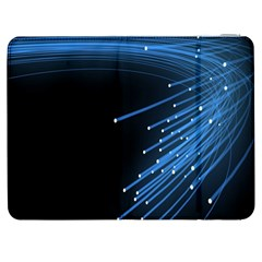 Abstract Light Rays Stripes Lines Black Blue Samsung Galaxy Tab 7  P1000 Flip Case